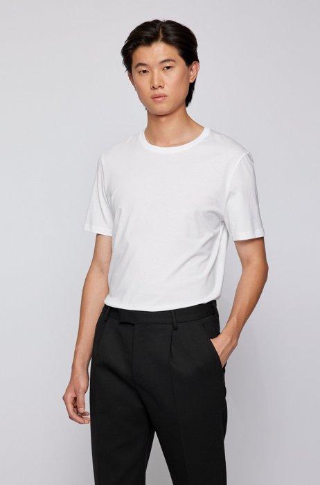 T-shirt a girocollo in puro cotone con finitura fluida, Bianco