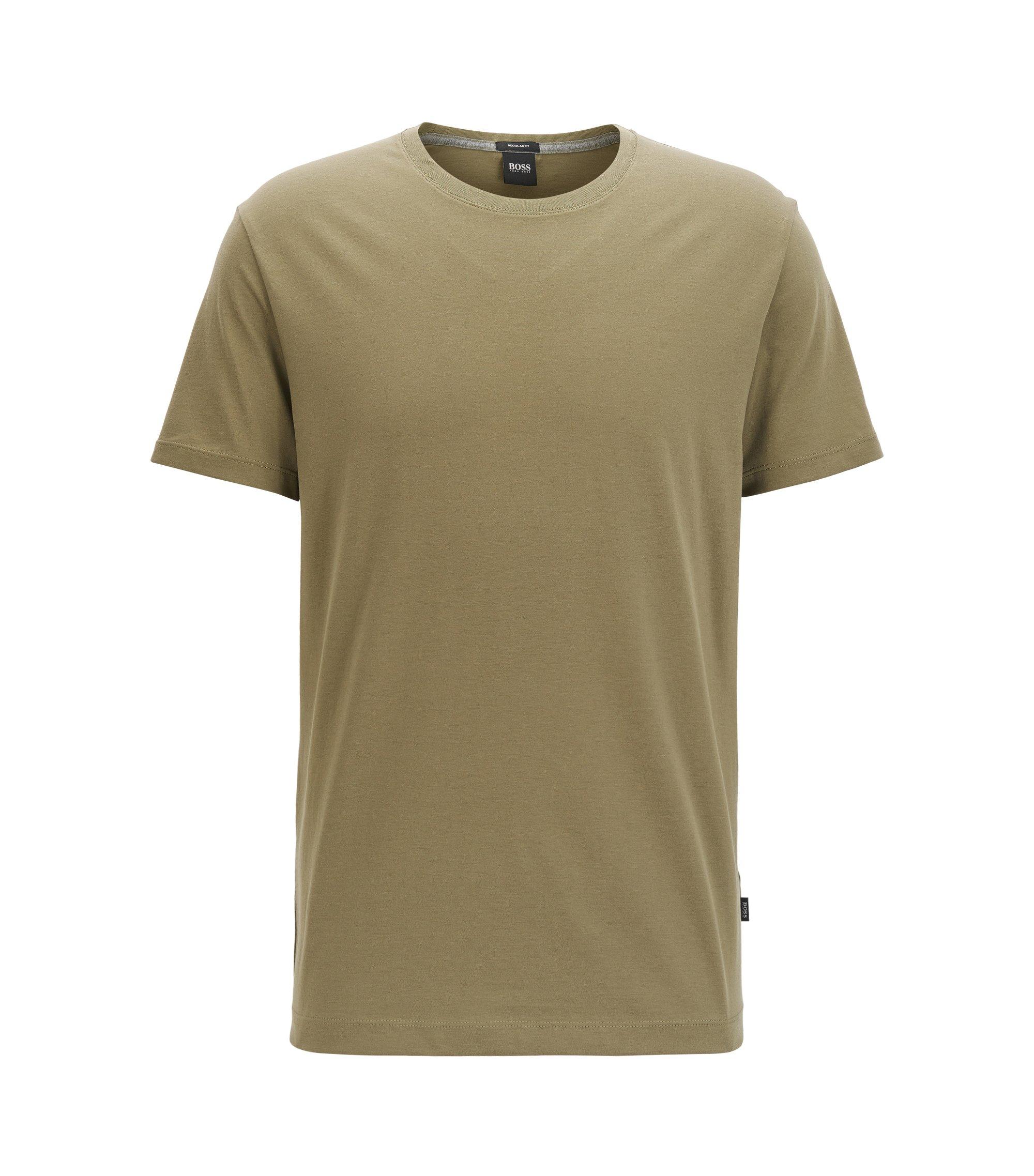 Regular-Fit T-Shirt aus weicher Baumwolle, Dunkelgrün