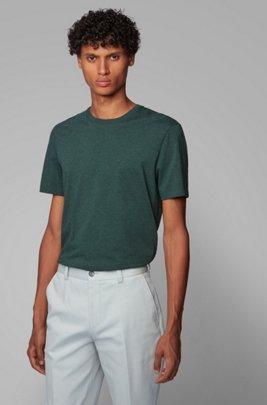 T-shirt à col rond en coton pur à la finition fluide, Gris sombre