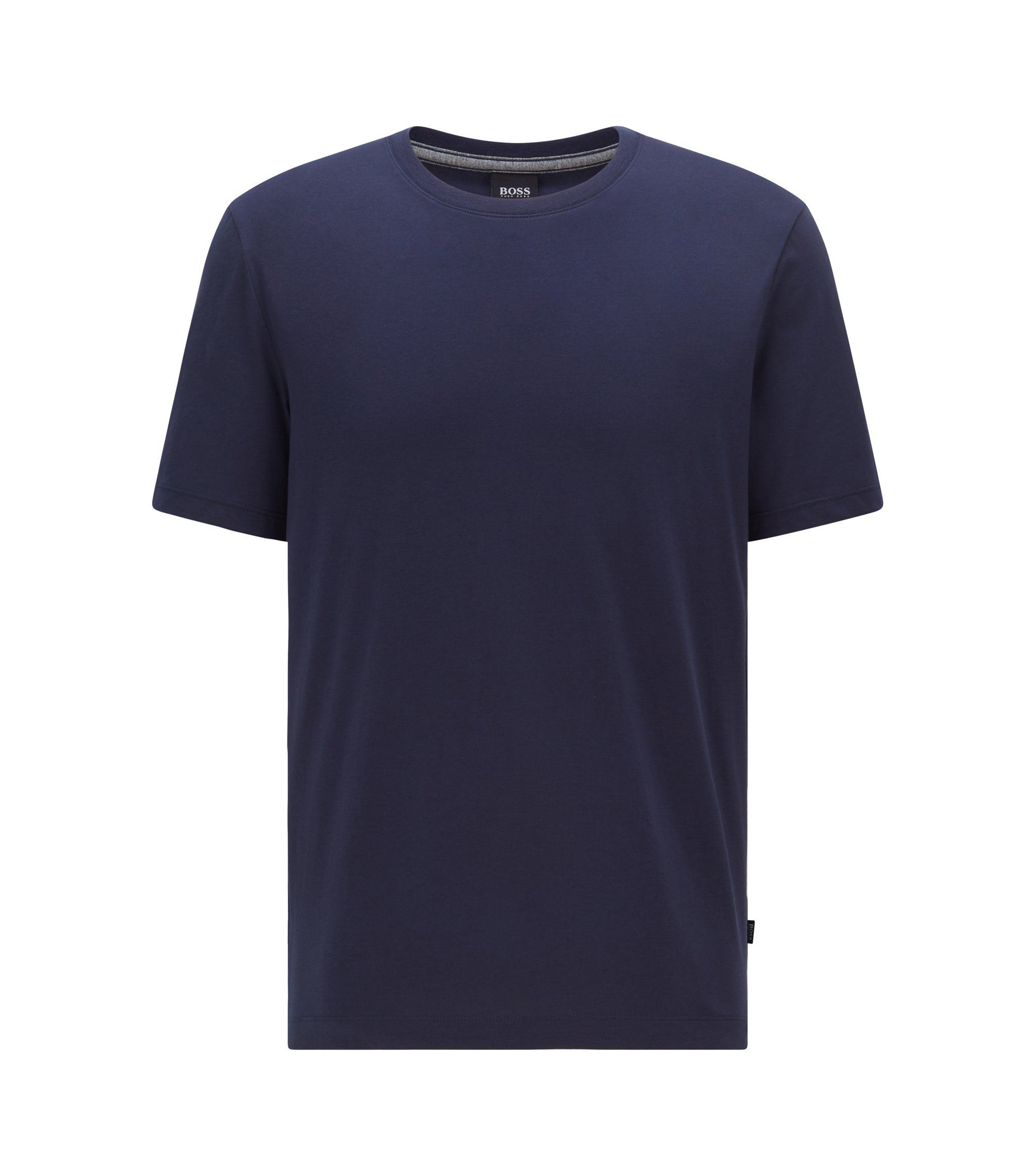 T-shirt regular fit in morbido cotone, Blu scuro