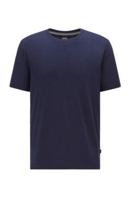 T-shirt à col rond en coton pur à la finition fluide, Bleu foncé