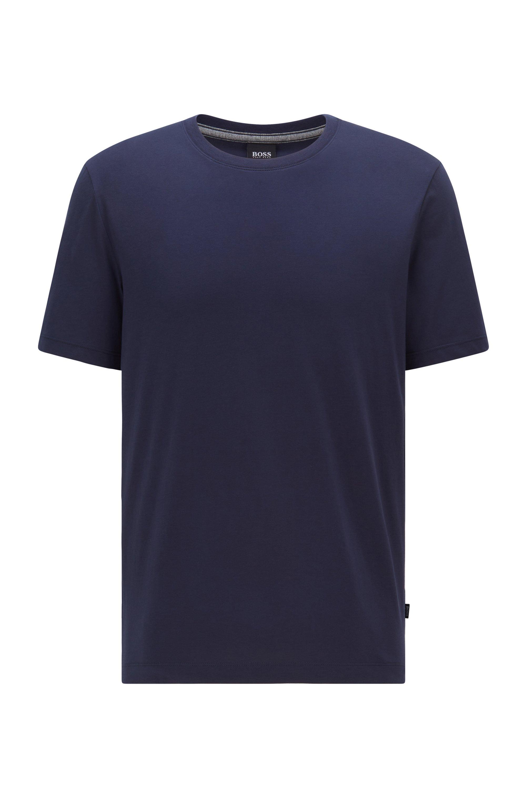 Crew-neck T-shirt in pure cotton with liquid finishing, Dark Blue