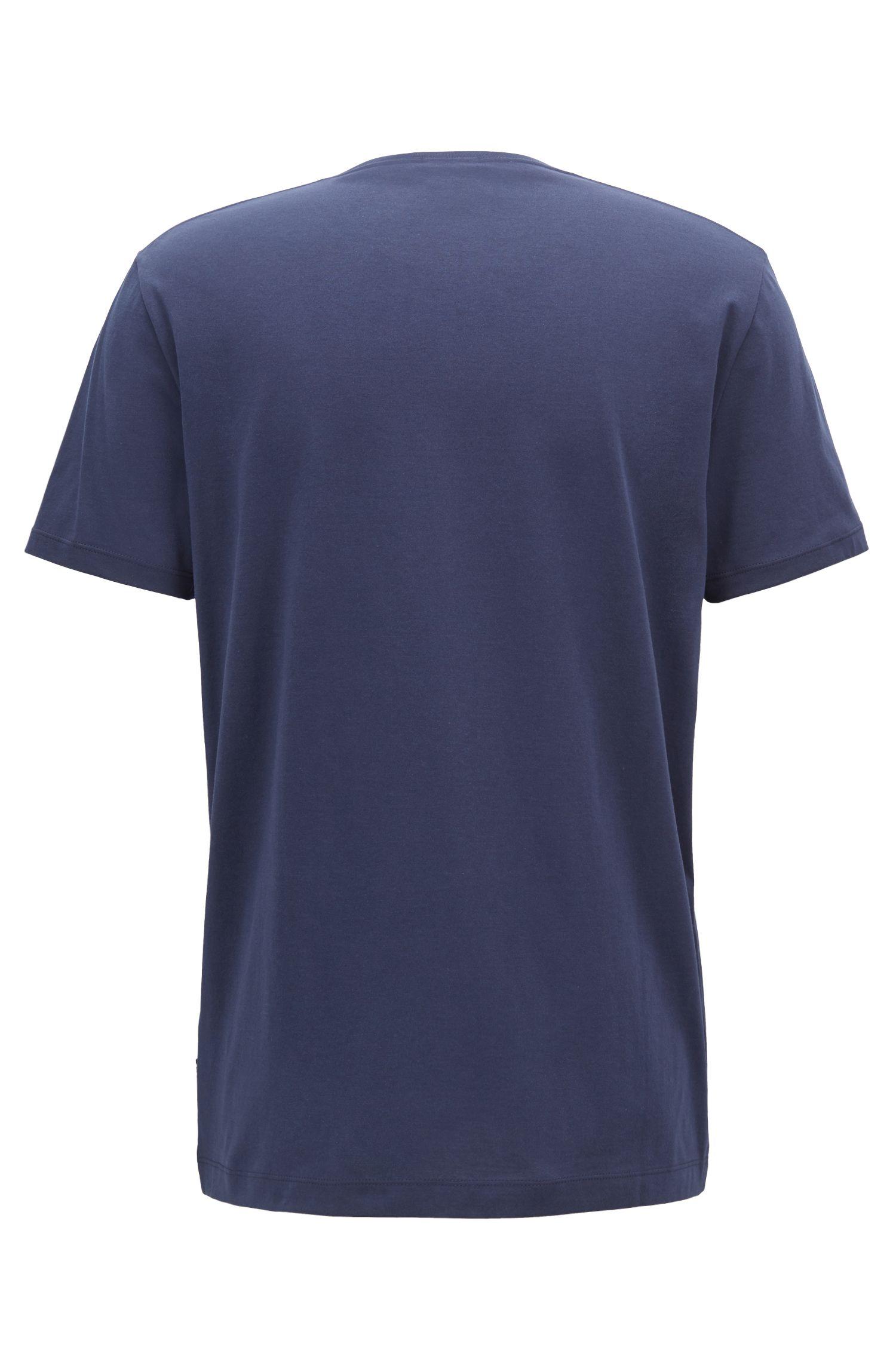 T-shirt Regular Fit en coton doux, Bleu foncé