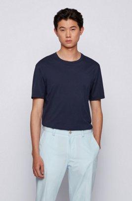 クルーネックTシャツ ピュアコットン リキッドフィニッシュ, ダークブルー