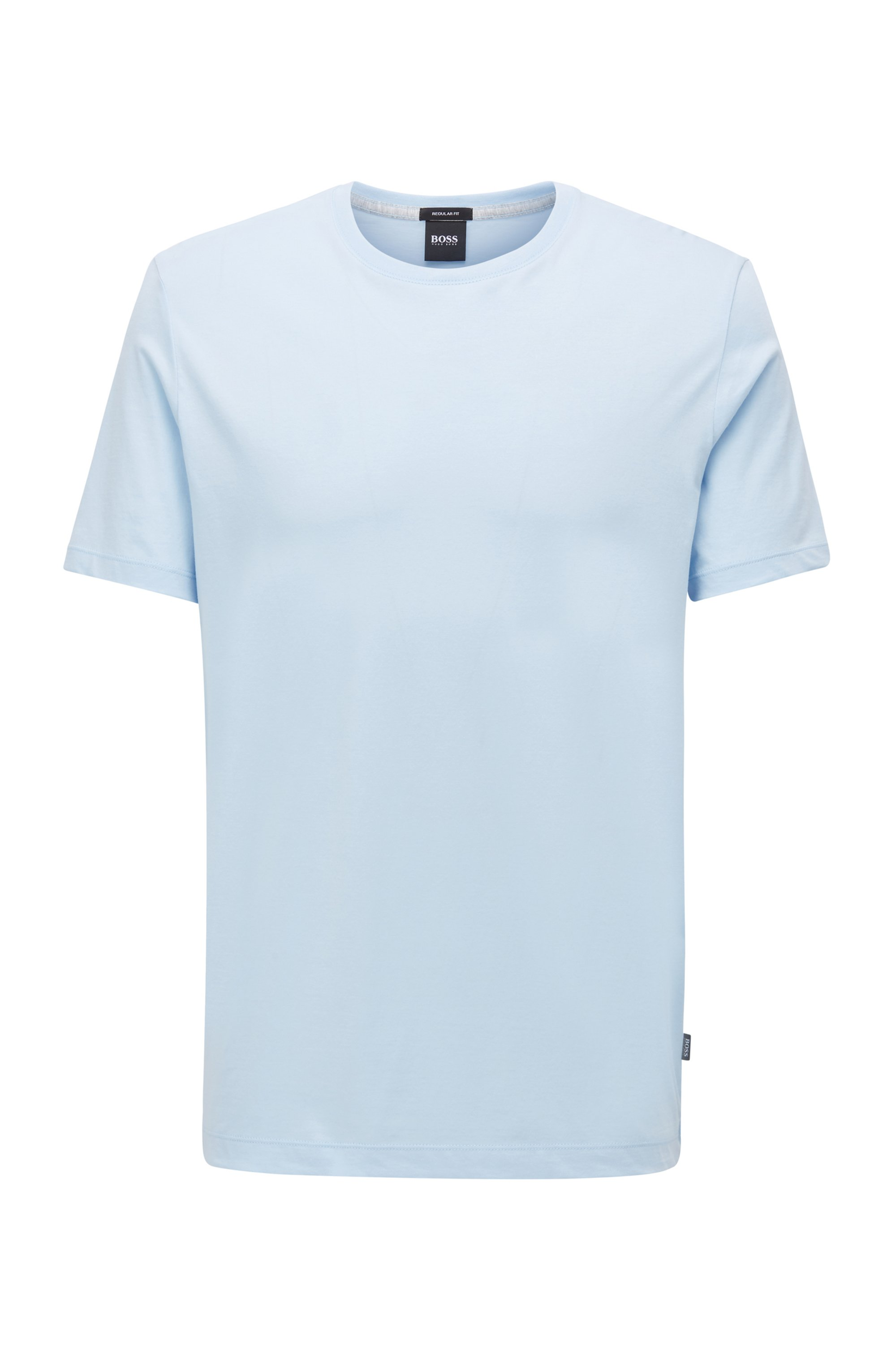 Crew-neck T-shirt in pure cotton with liquid finishing, Light Blue