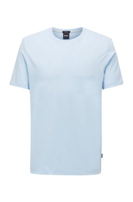 T-Shirt aus Baumwolle mit Rundhalsausschnitt und spezieller Waschung, Hellblau