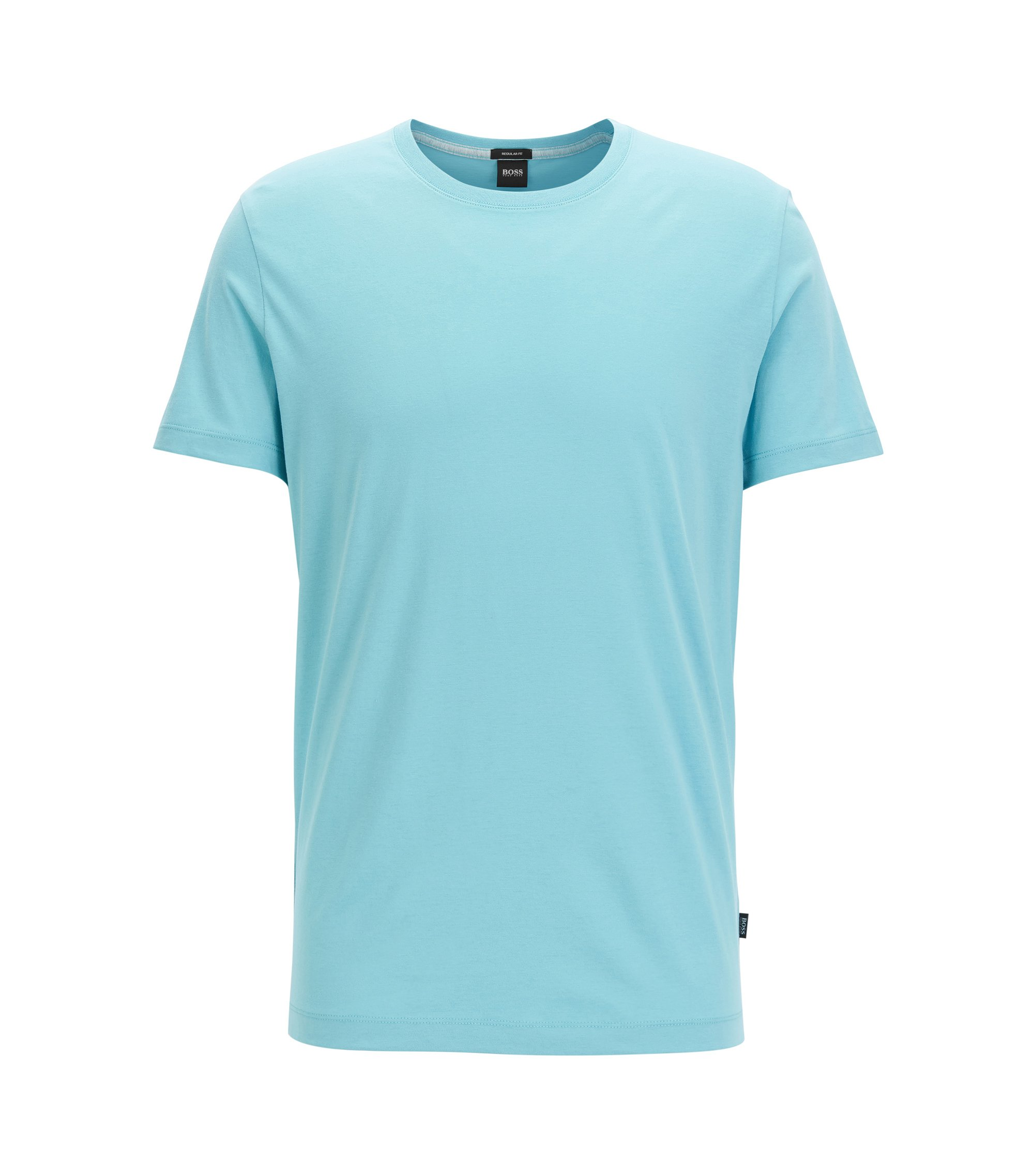 T-shirt regular fit in morbido cotone, Celeste