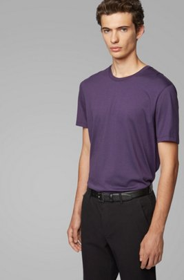 Crew-neck T-shirt in pure cotton with liquid finishing, Dark Purple