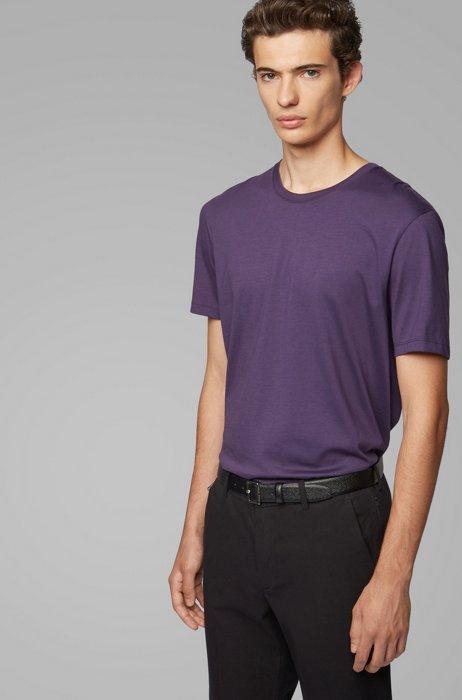 T-shirt a girocollo in puro cotone con finitura fluida, Viola scuro