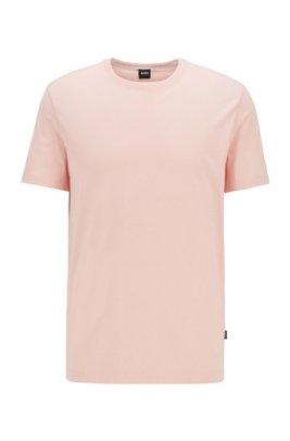 T-Shirt aus Baumwolle mit Rundhalsausschnitt und spezieller Waschung, Hellrosa