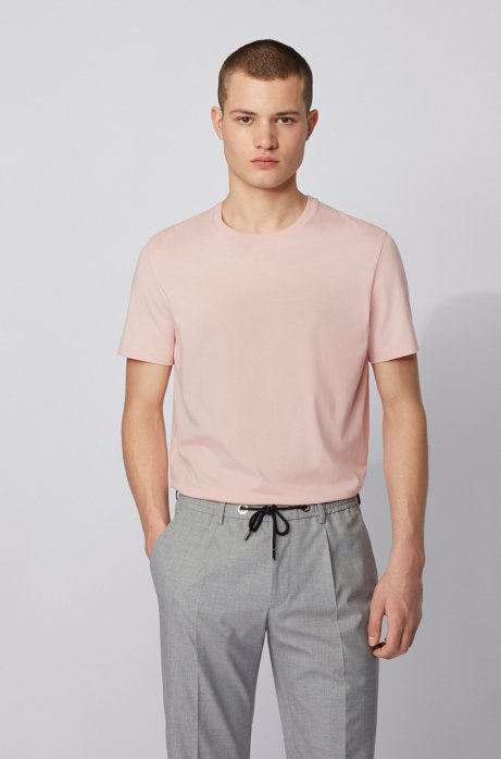 Crew-neck T-shirt in pure cotton with liquid finishing, light pink
