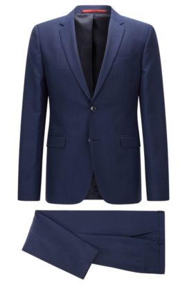 Extra-slim-fit suit in micro patterned virgin wool, Dark Blue