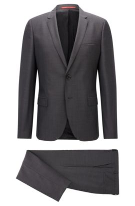 Extra-slim-fit suit in super 100 virgin wool, Dark Grey