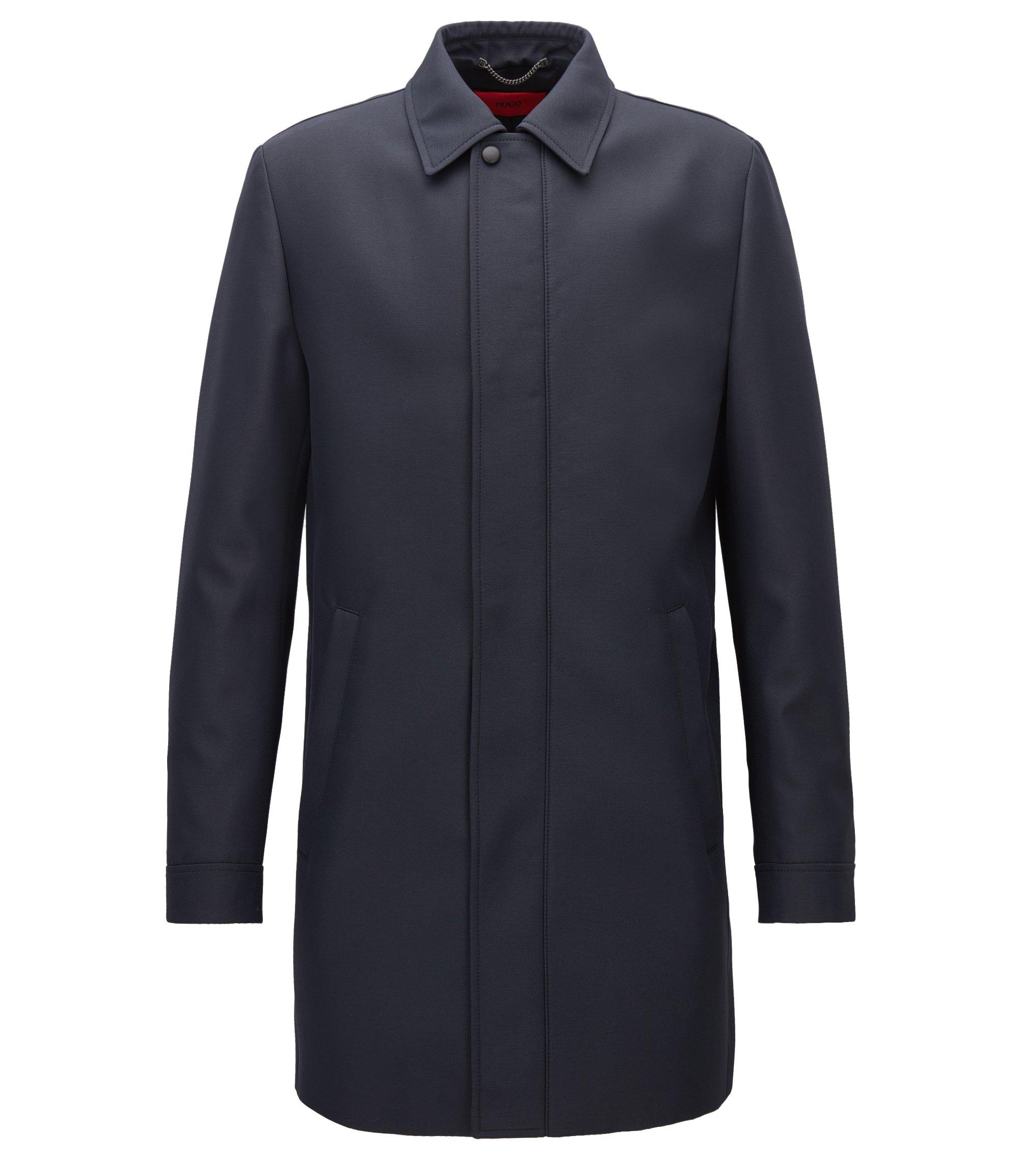 Abrigo slim fit en tejido técnico repelente al agua, Azul oscuro