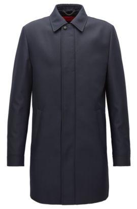 Manteau Slim Fit en tissu technique imperméable, Bleu foncé
