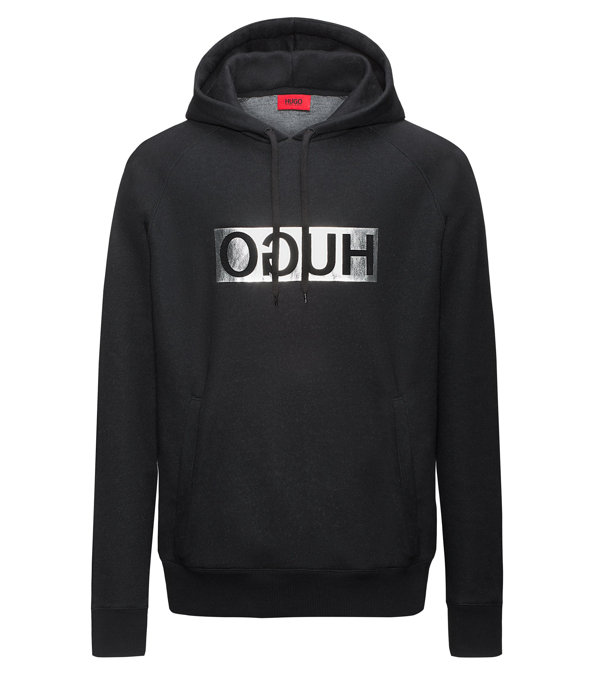 Reverse-logo hooded sweater in a cotton blend, Black