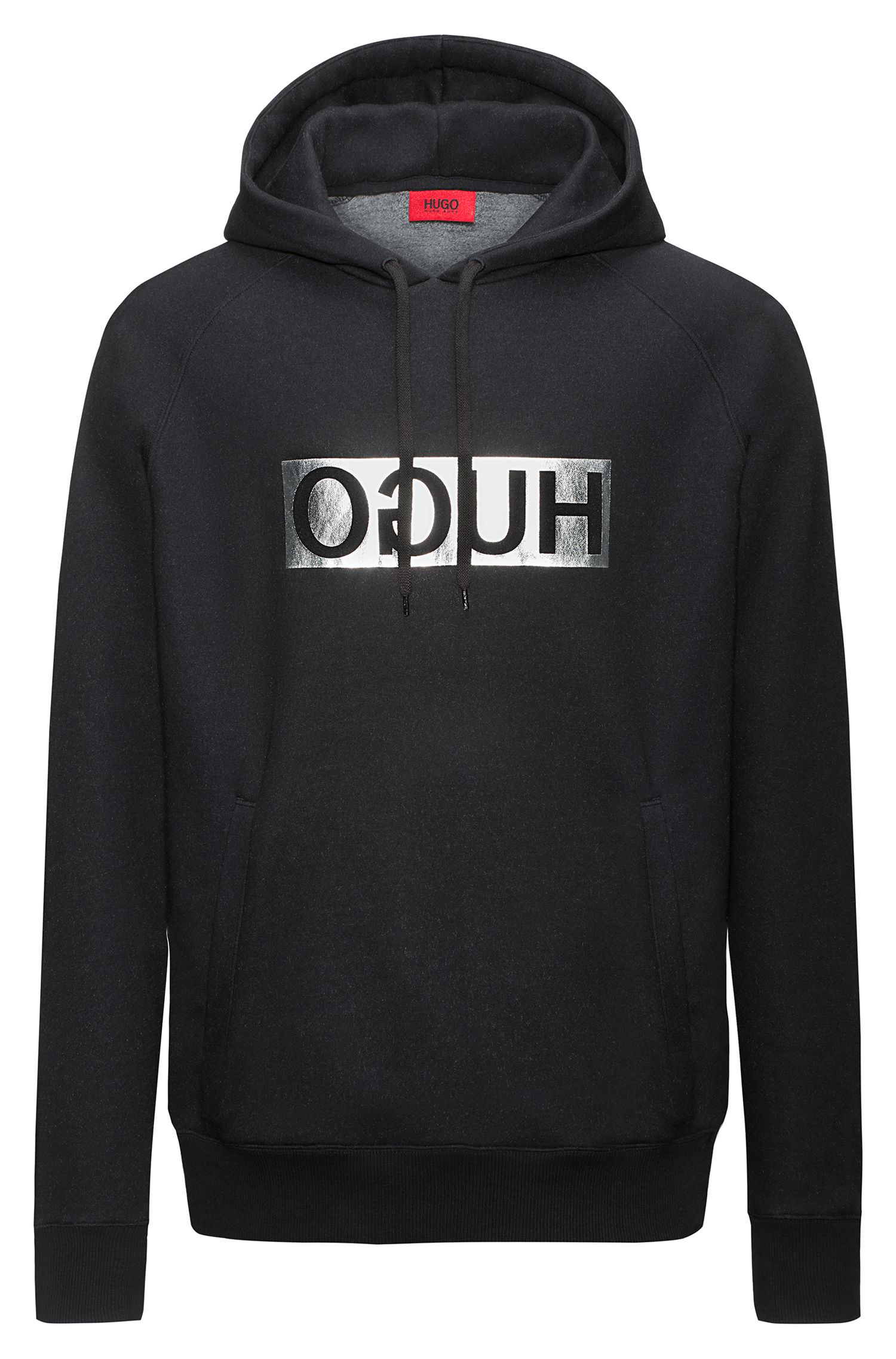 Reverse-logo hooded sweater in a cotton blend