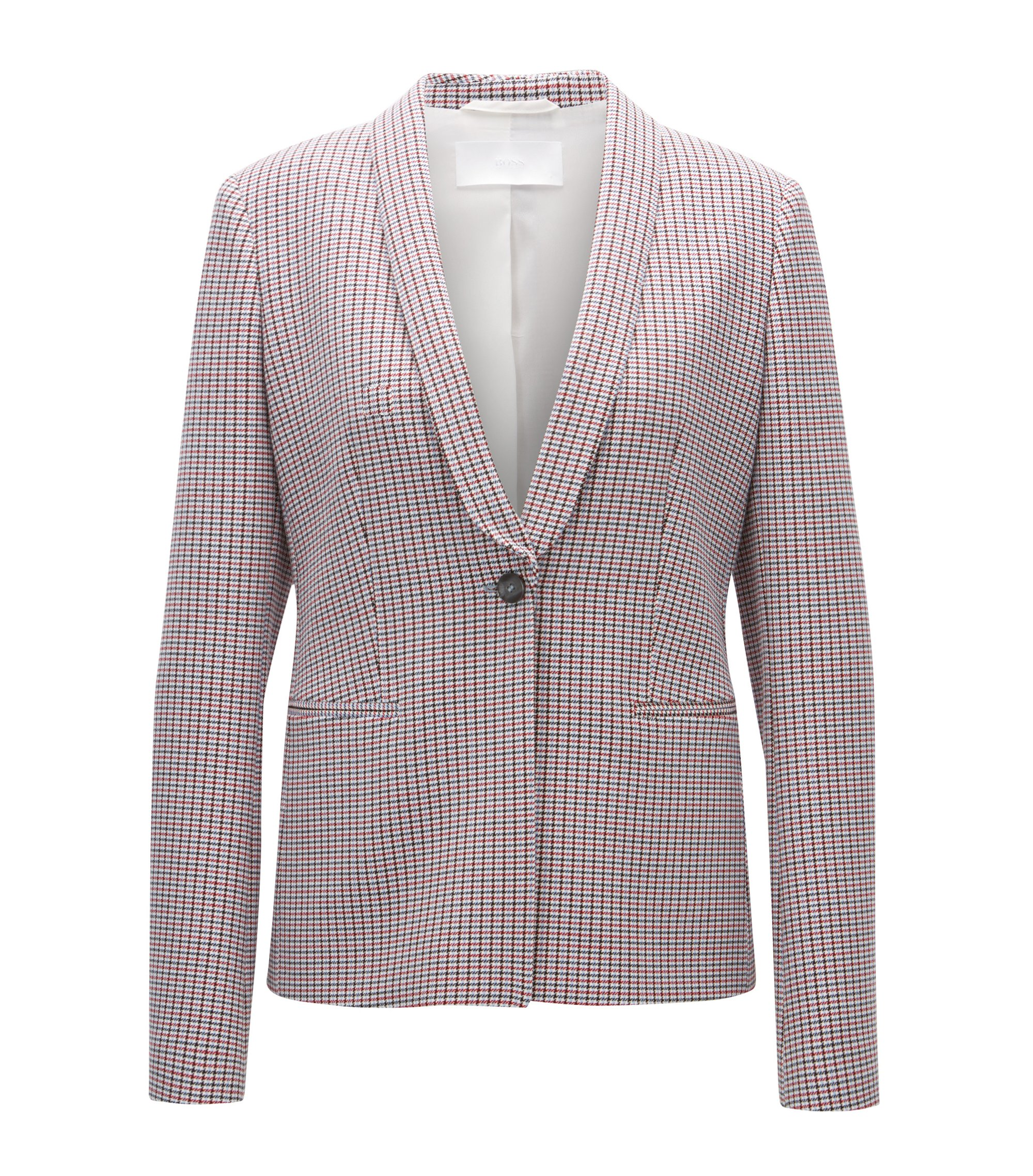 Regular-fit jacket in double-faced fabric, Patterned