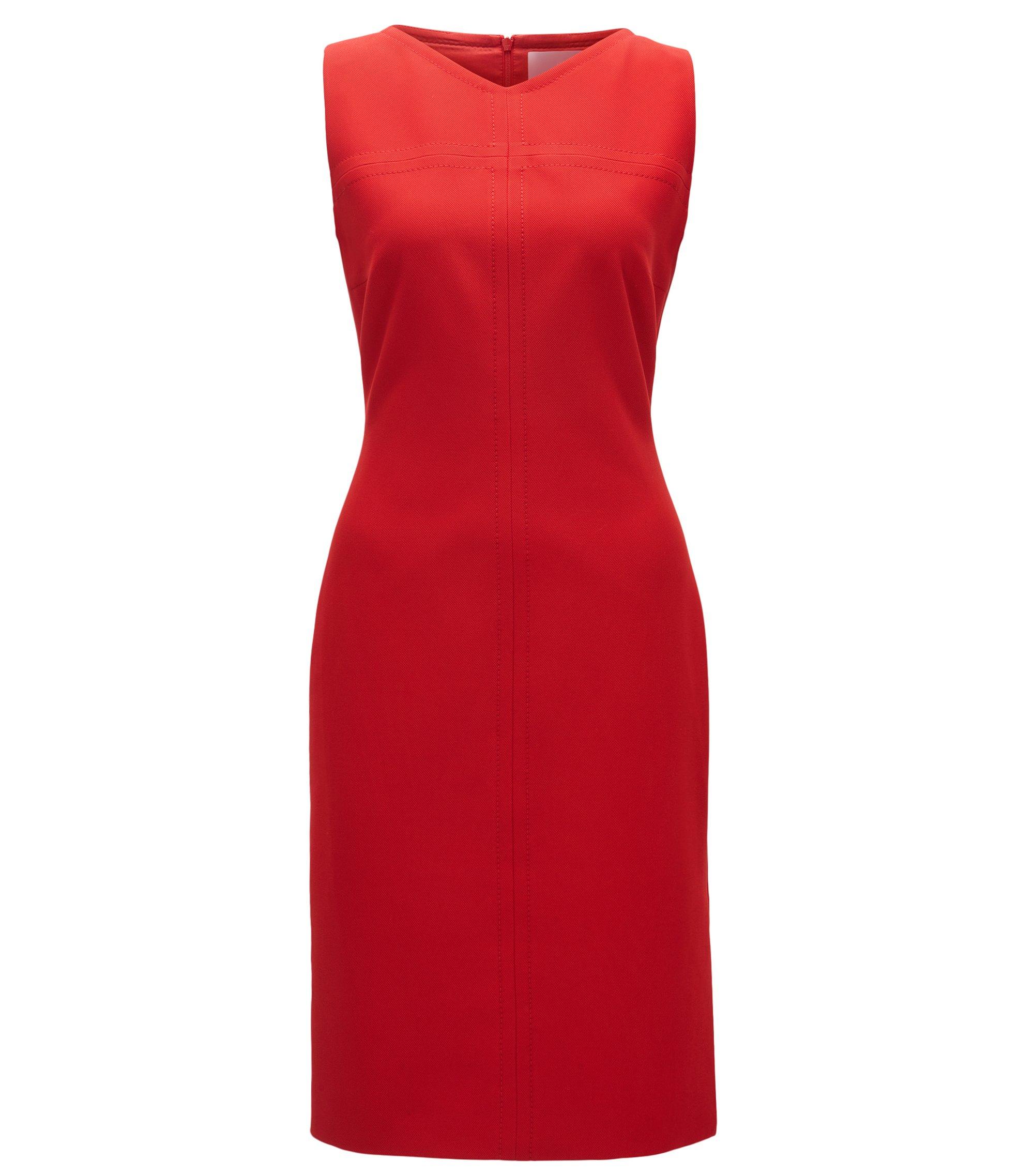 Ärmelloses Kleid aus Material-Mix mit V-Ausschnitt, Rot