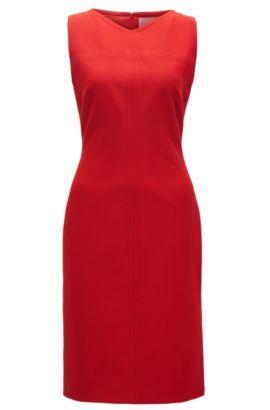 Sleeveless dress with V neckline, Red