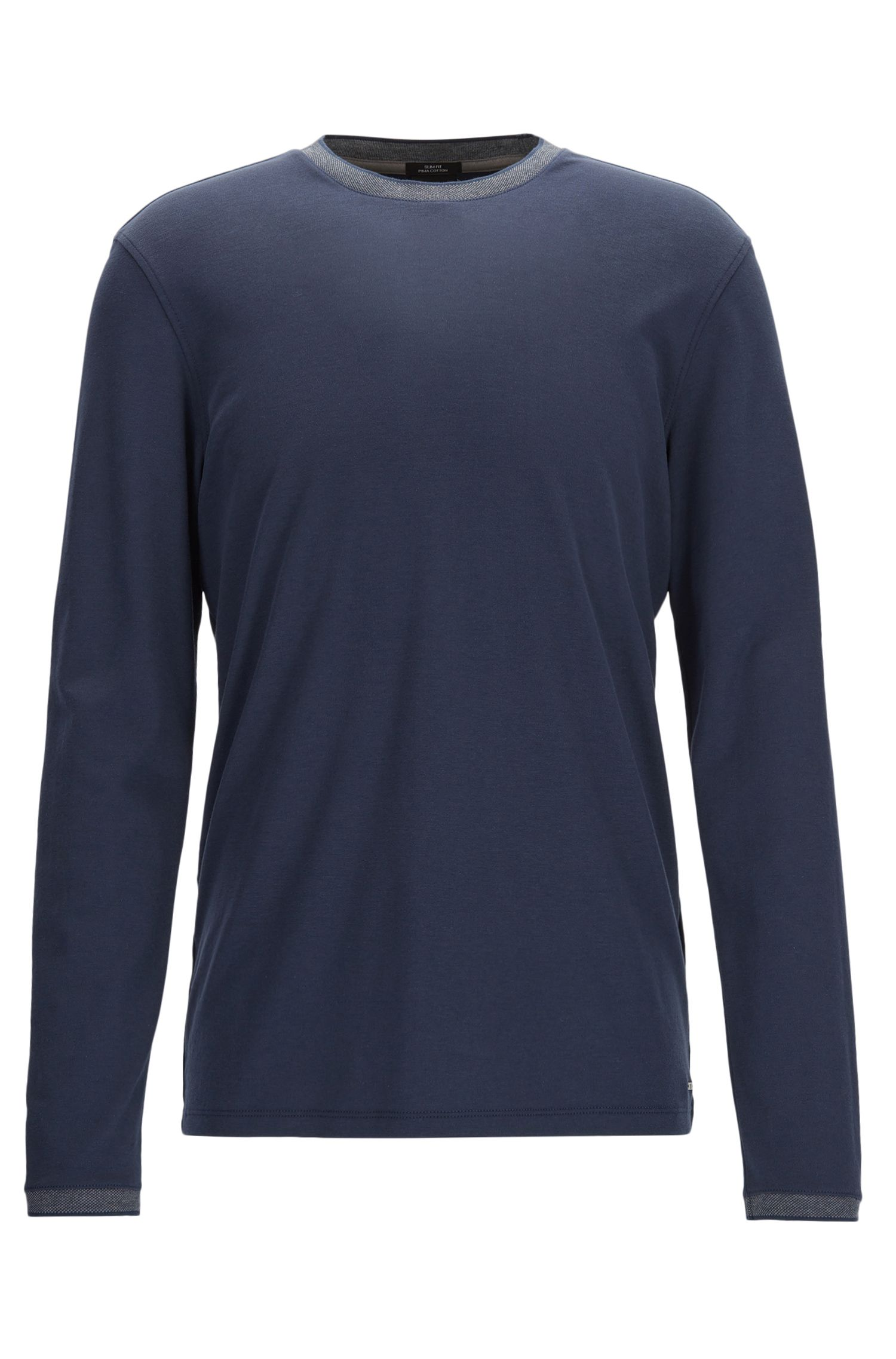 Slim-fit long-sleeved T-shirt in interlock cotton
