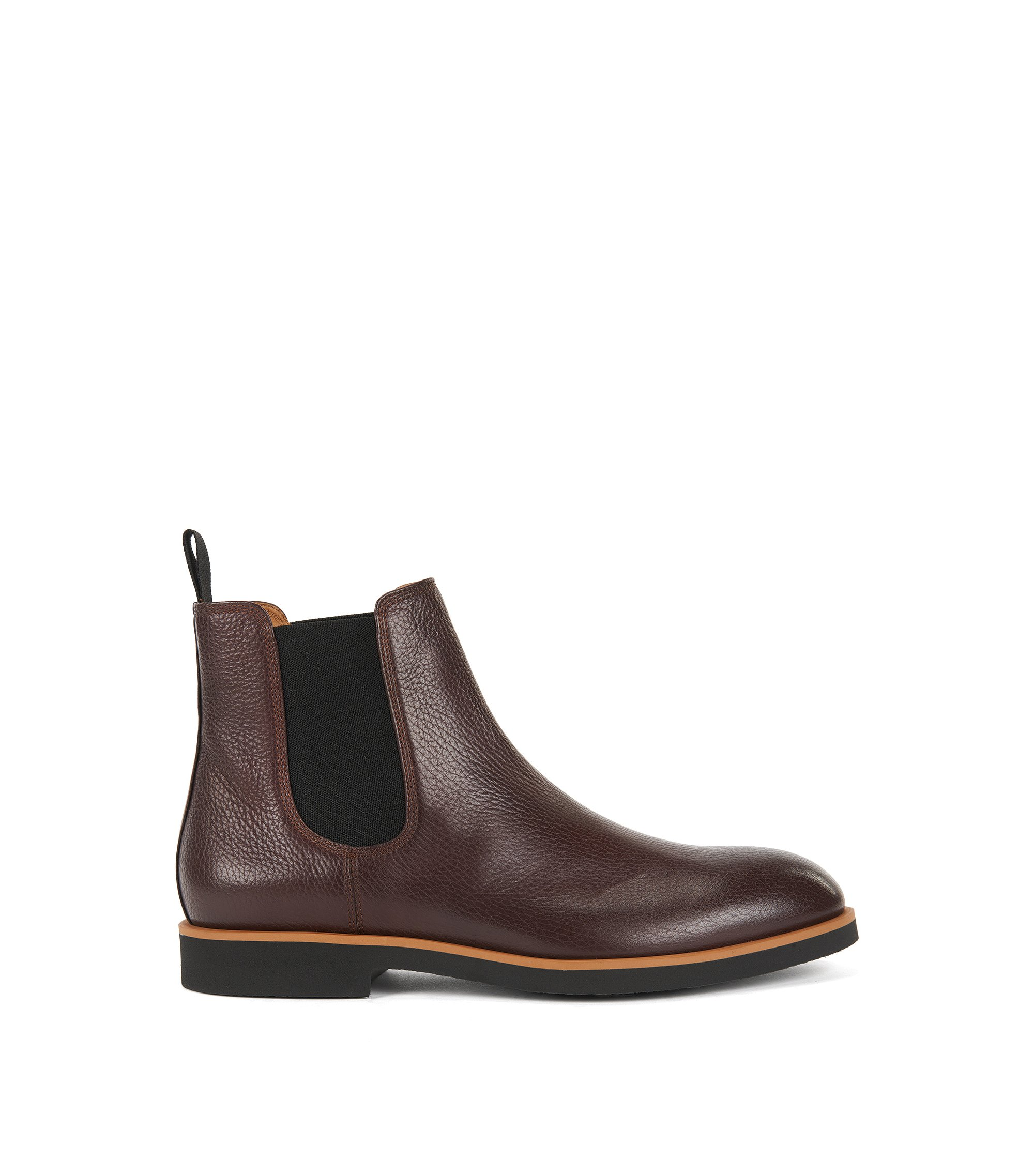Chelsea boots in grained leather, Dark Red