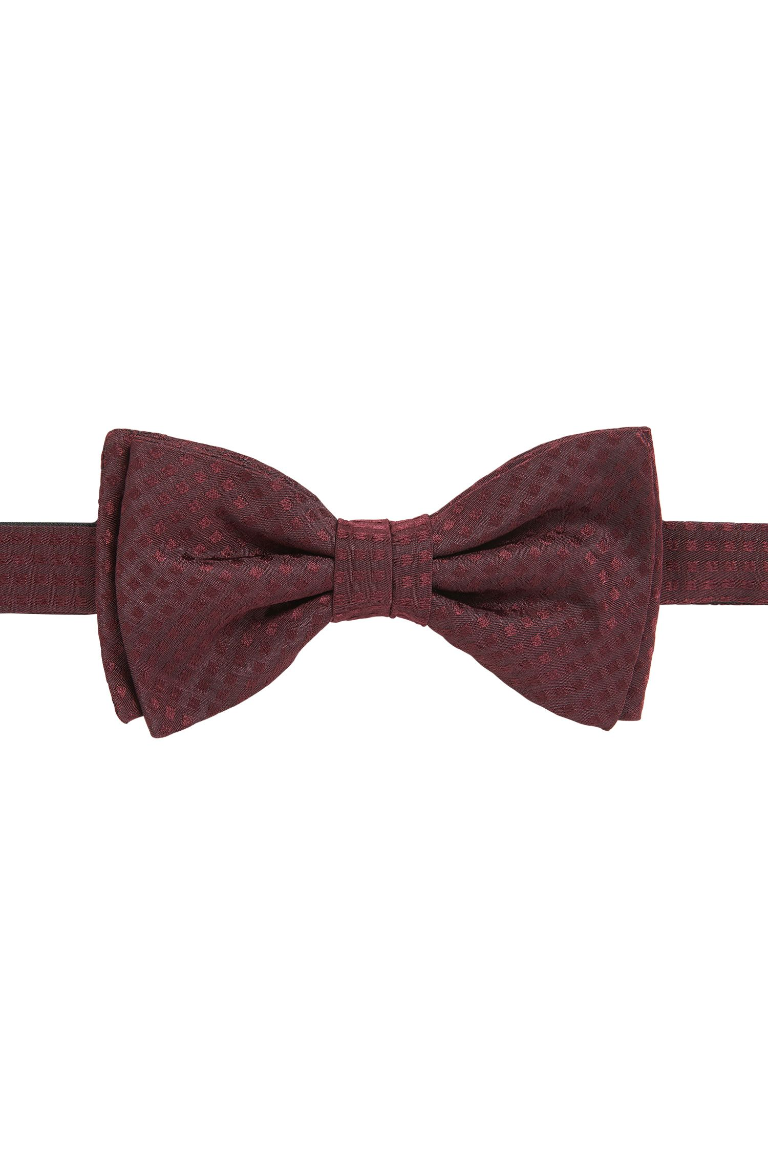 Check-jacquard bow tie in pure silk