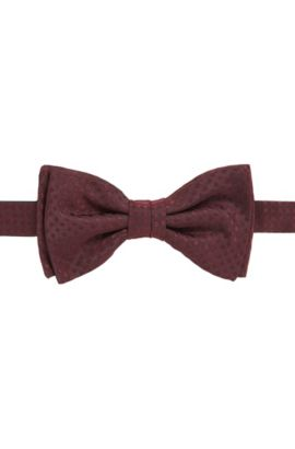 Check-jacquard bow tie in pure silk, Rojo oscuro