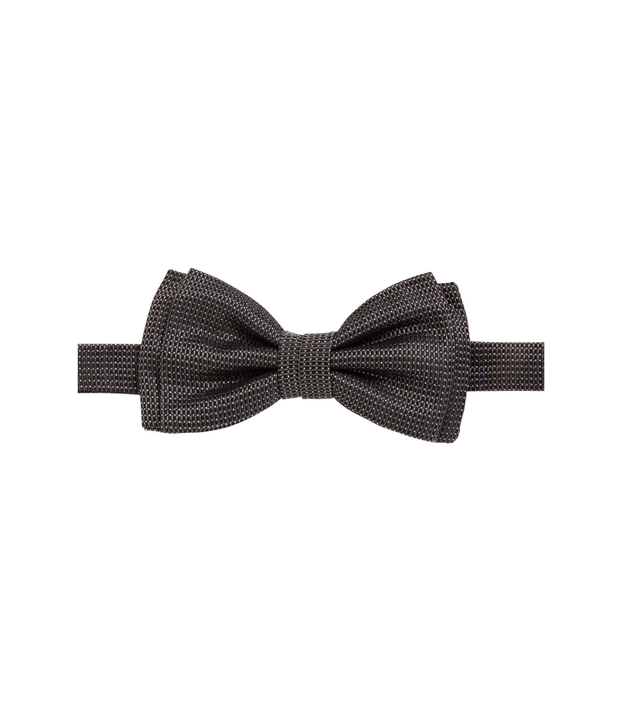 Jacquard bow tie in patterned silk, Dark Grey