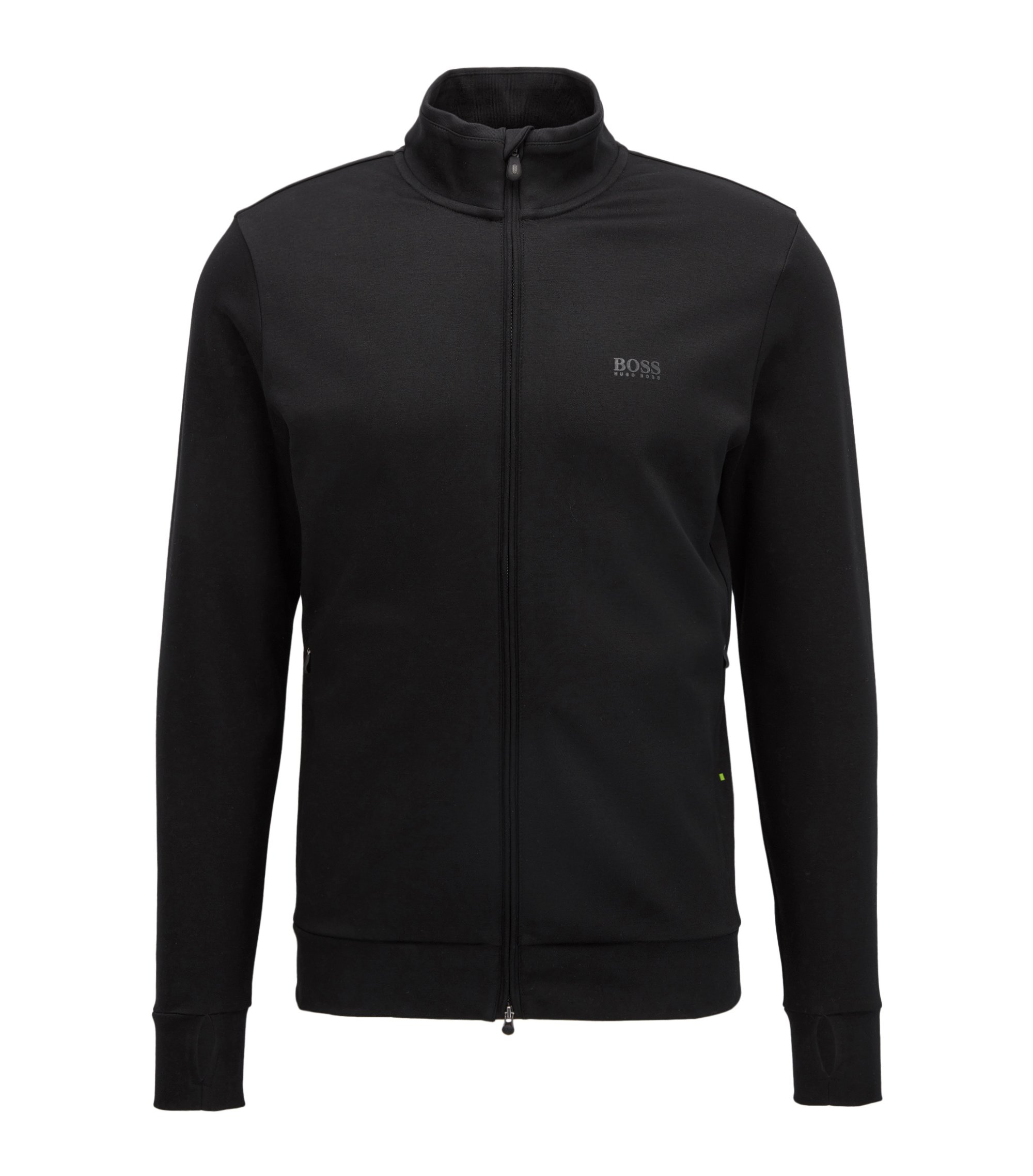 Storm-proof zip-through cotton-blend jacket in a slim fit, Black