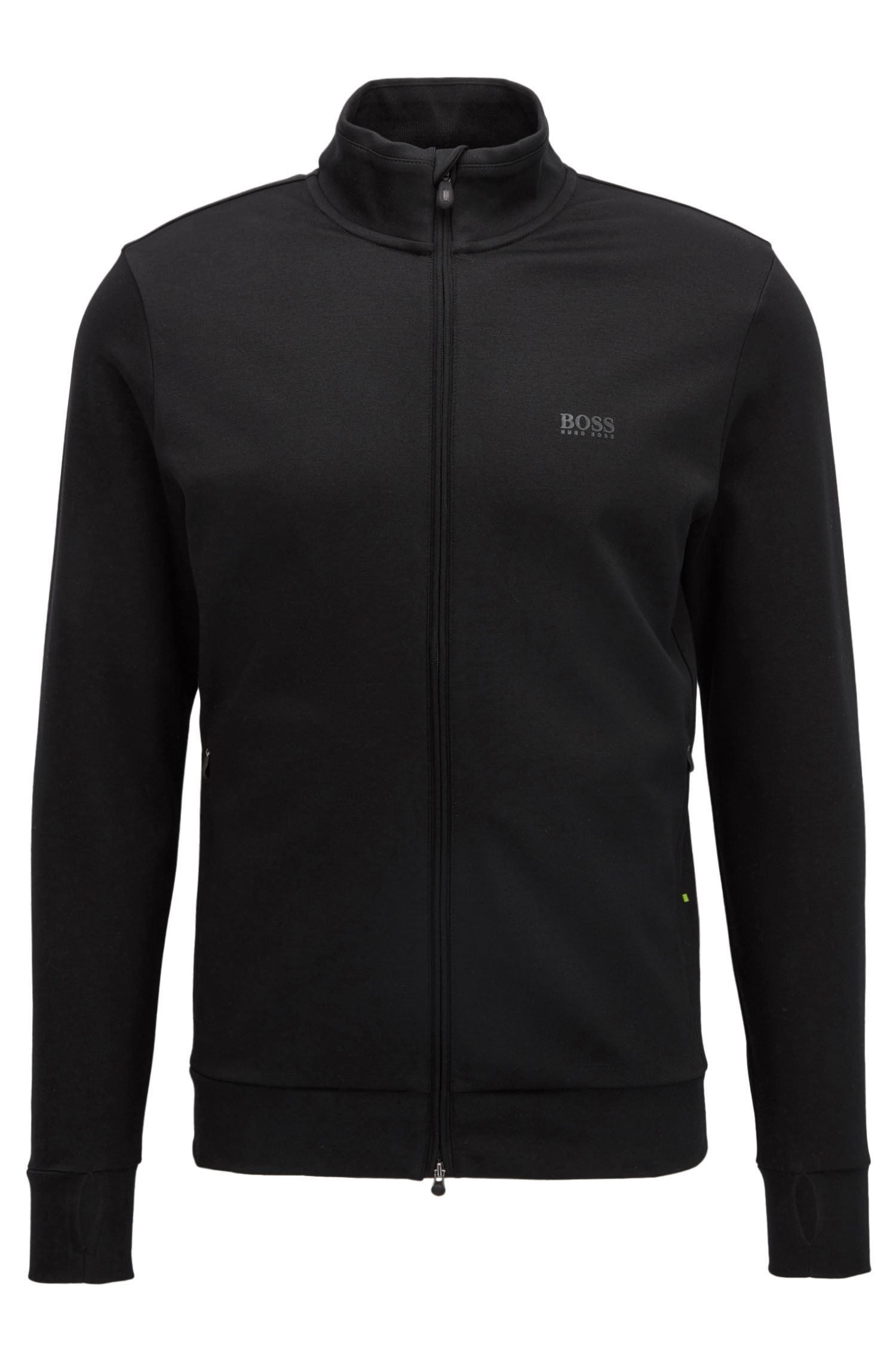 Storm-proof zip-through cotton-blend jacket in a slim fit