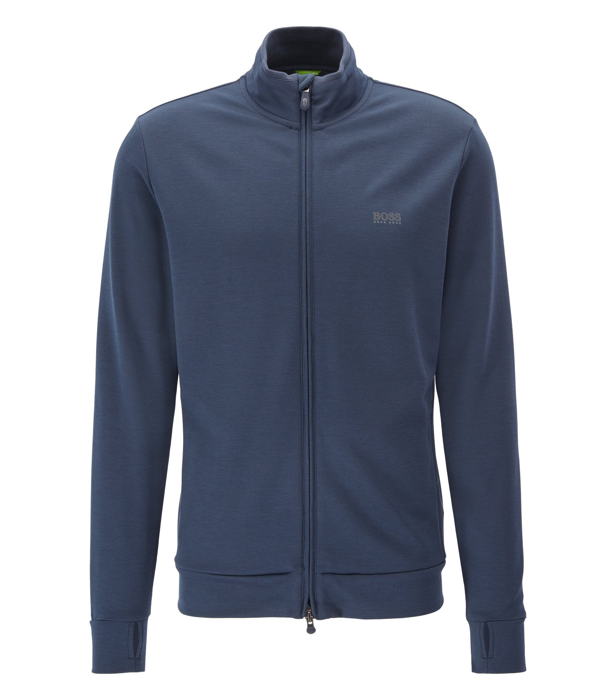 Storm-proof zip-through cotton-blend jacket in a slim fit, Blue