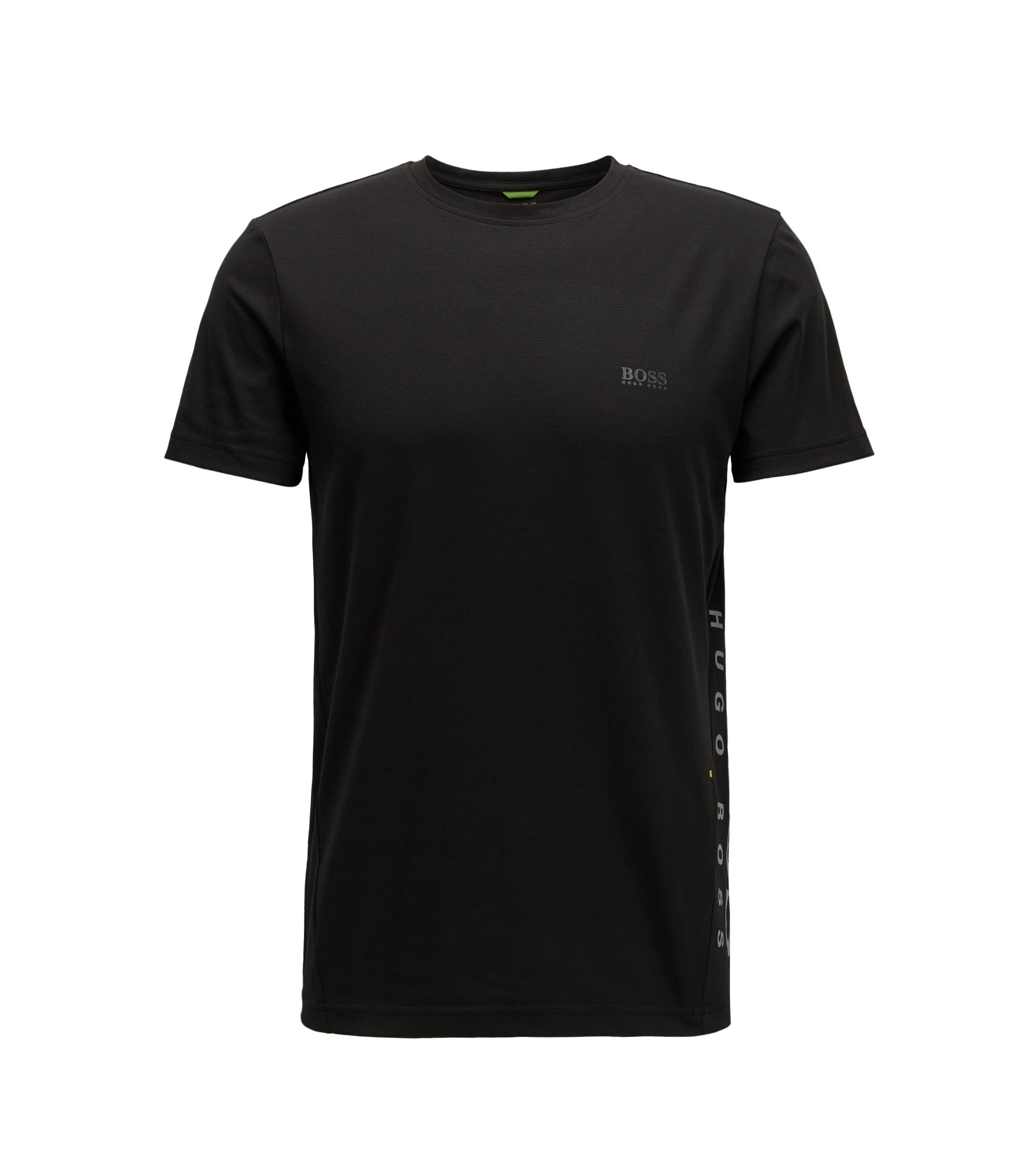 Camiseta slim fit en mezcla de algodón con control de la humedad, Negro