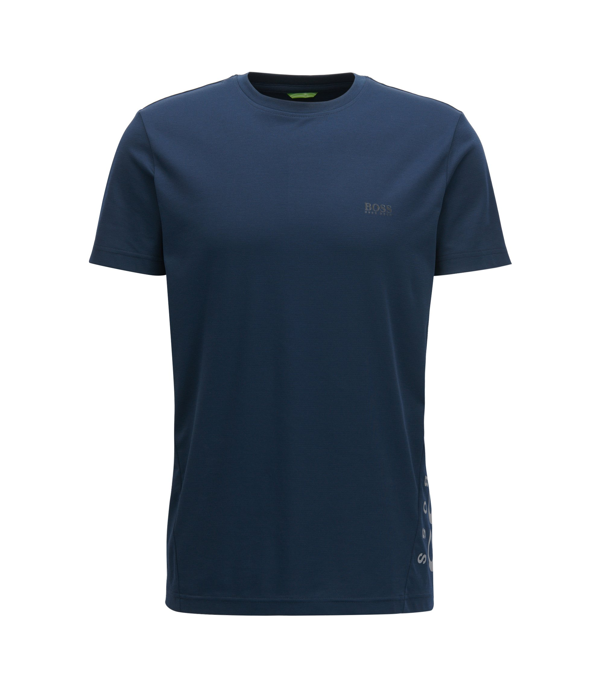 Slim-Fit T-Shirt aus feuchtigkeitsableitendem Baumwoll-Mix, Dunkelblau