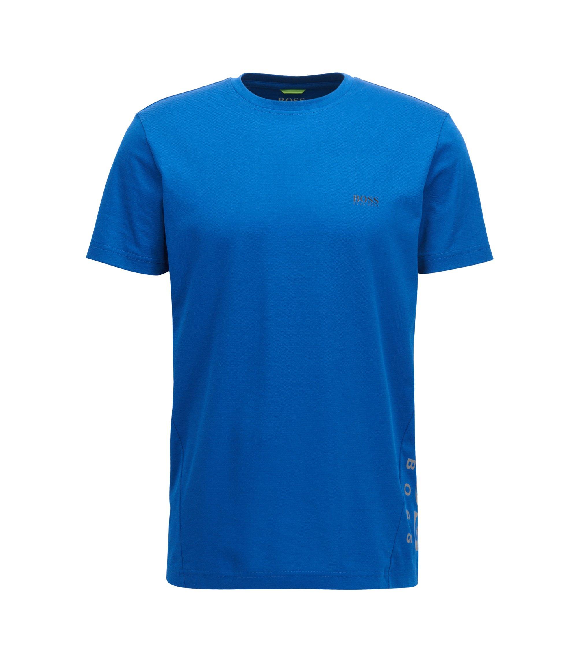 Slim-fit cotton-blend T-shirt with moisture management, Blue