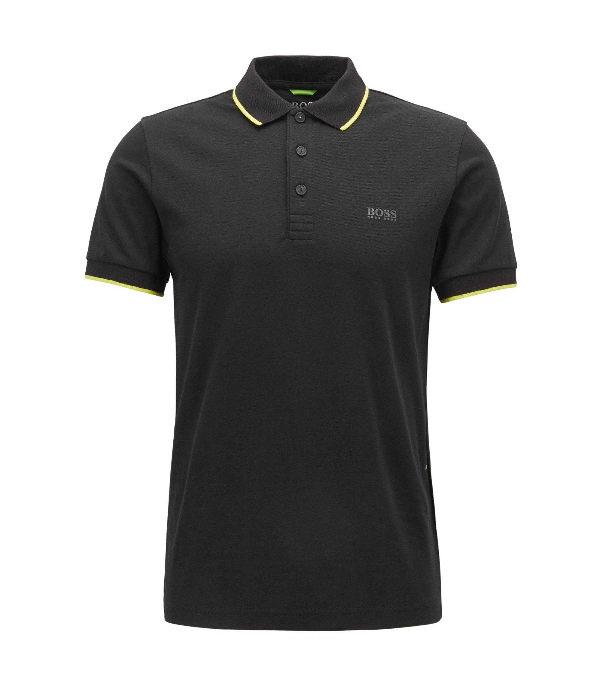 Slim-Fit Poloshirt aus Jacquard, Schwarz