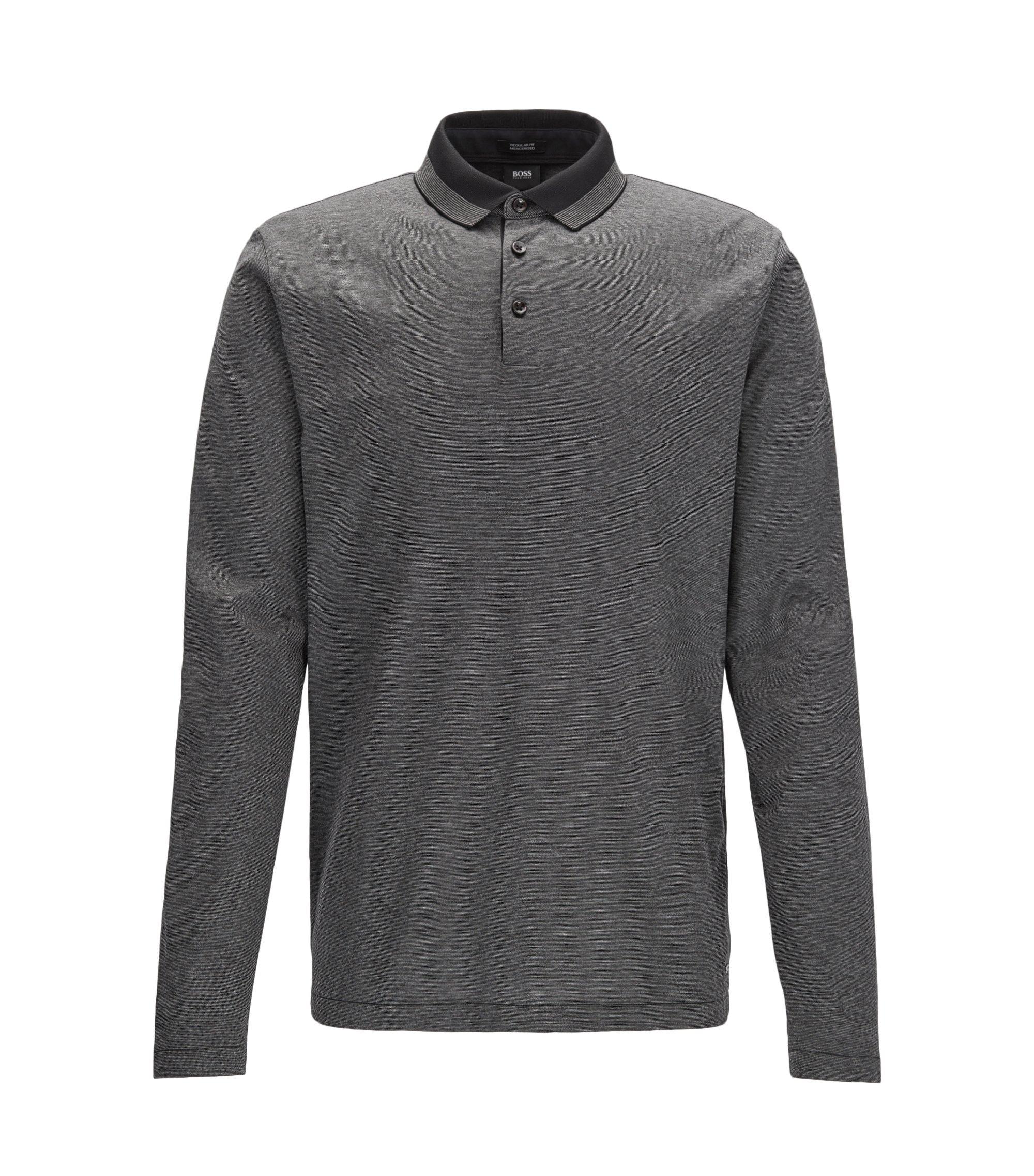 Regular-Fit Longsleeve Poloshirt aus merzerisierter Baumwolle, Dunkelgrau