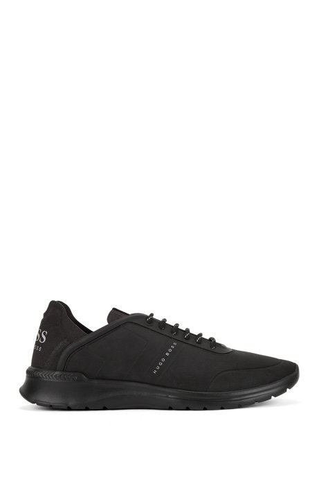 Lace-up low-top trainers with embossed nubuck-effect uppers, Black