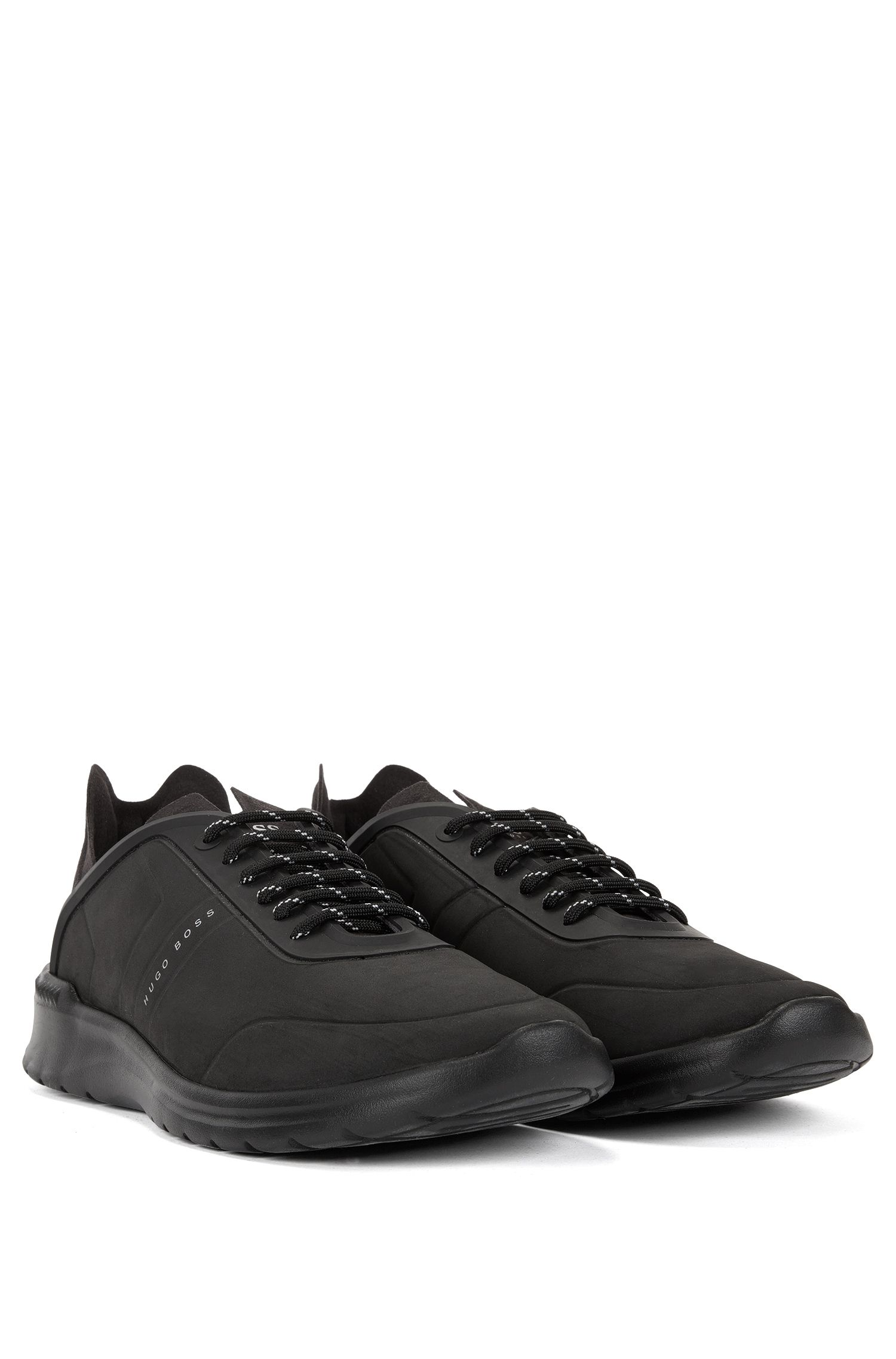 Lace-up low-top trainers with embossed nubuck-effect uppers BOSS