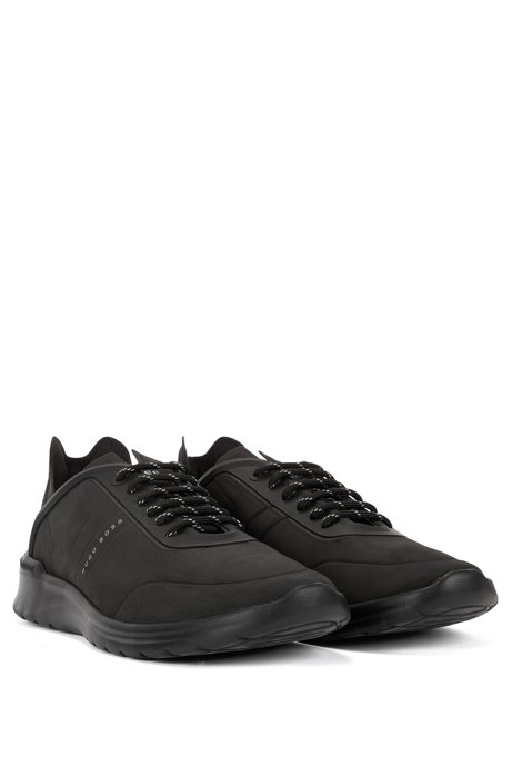 Lace-up low-top trainers with embossed nubuck-effect uppers BOSS tnPmD