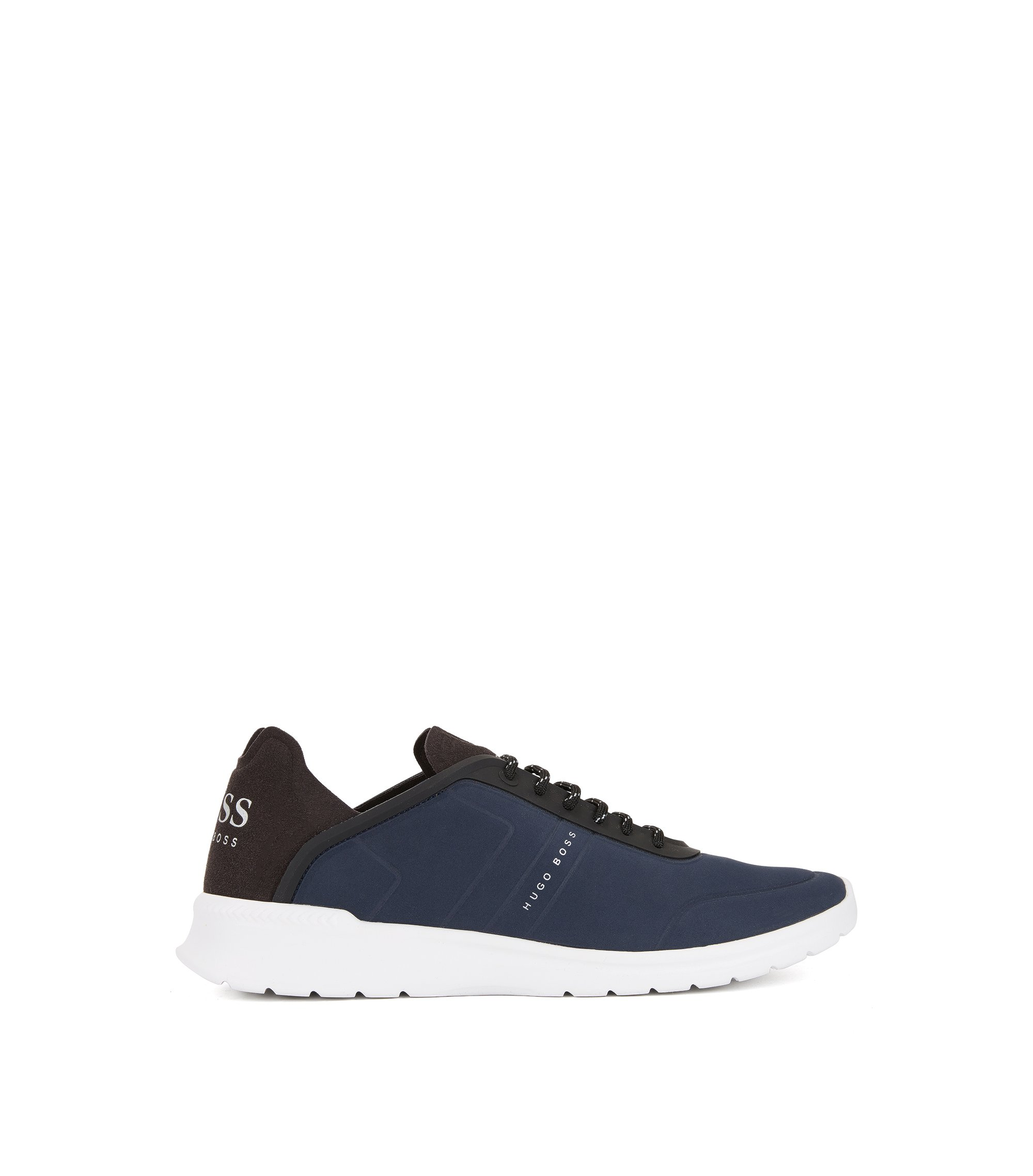 Sneakers low-top stringate con tomaia goffrata effetto nabuk, Blu scuro