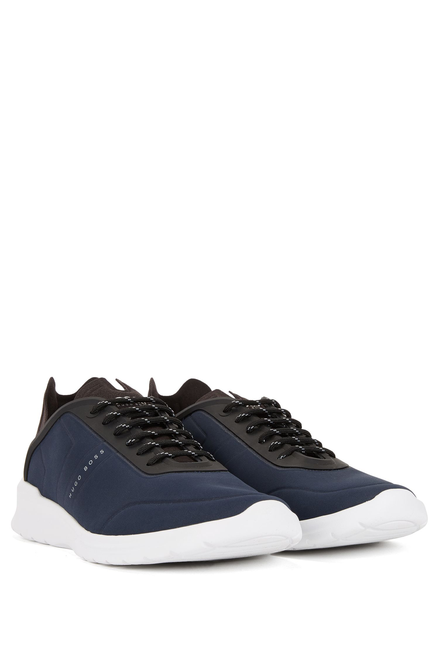 Lace-up low-top trainers with embossed nubuck-effect uppers
