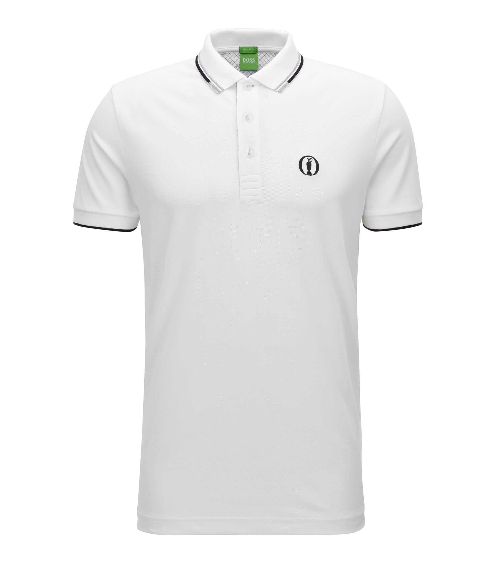 Polo BOSS de la collection The Open, en piqué de coton mélangé, Blanc