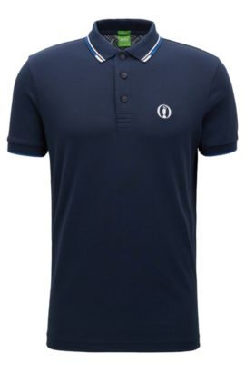 The Open Collection by BOSS polo shirt in cotton-blend piqué, Dark Blue