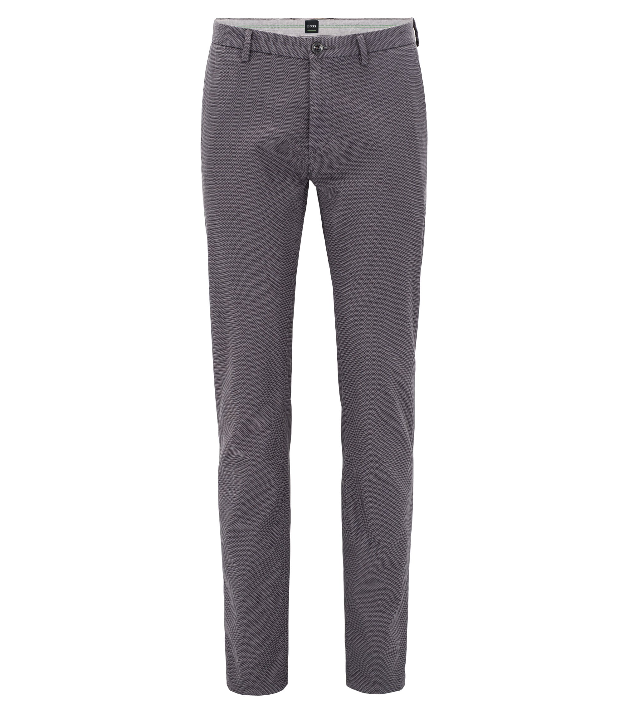 Slim-Fit Chino aus Stretch-Baumwolle mit zweifarbiger Webstruktur, Anthrazit