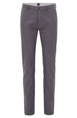 Slim-fit chinos in two-tone structured cotton, Anthracite