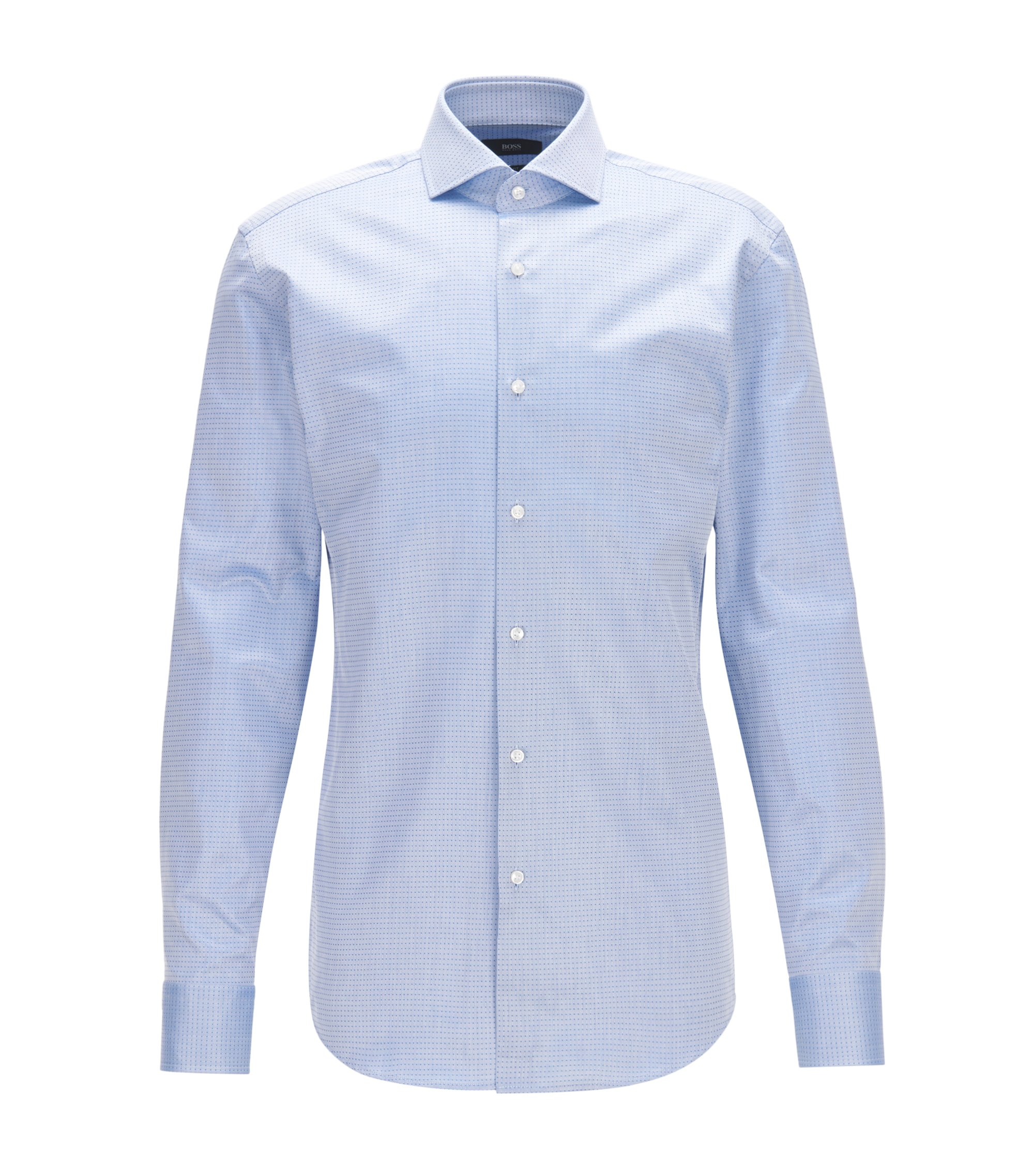 Slim-fit shirt in dobby cotton twill, Blue