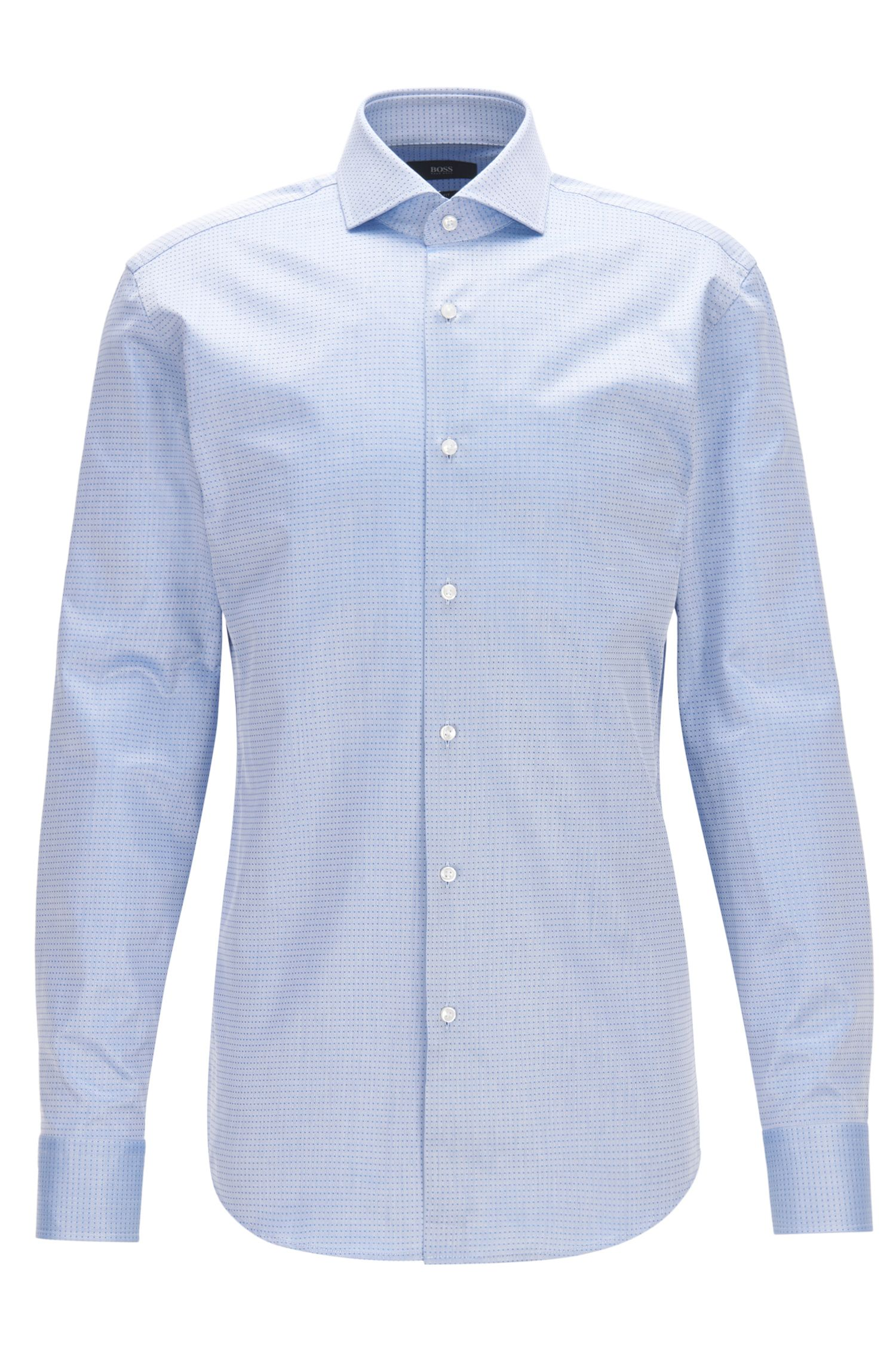 Slim-fit shirt in dobby cotton twill