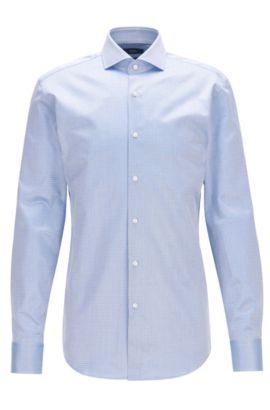 Camicia slim fit in twill di cotone dobby, Blu