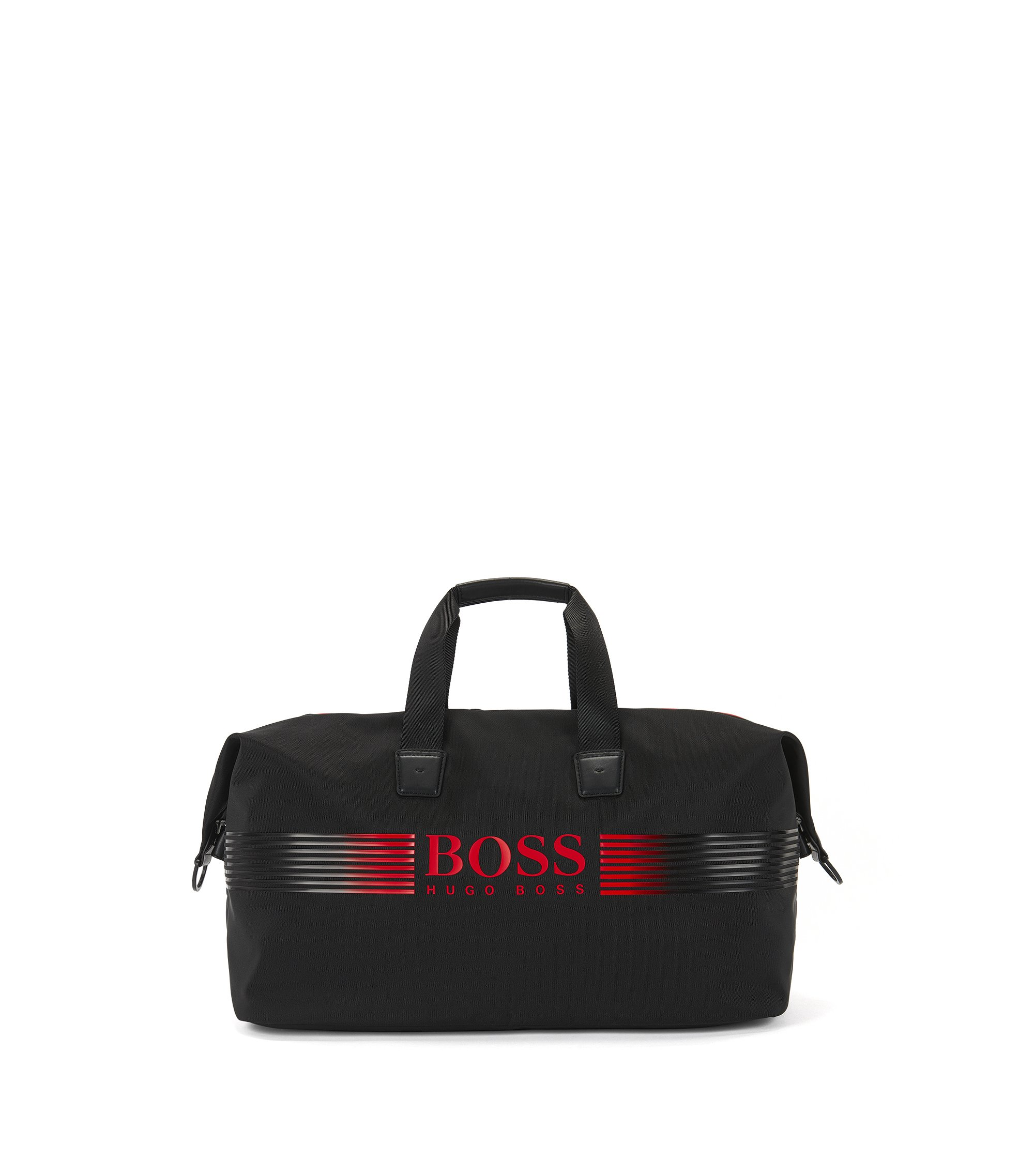 Nylon holdall with contrast logo, Black